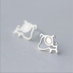 Sterling Silver 925 Dog Stud Earrings